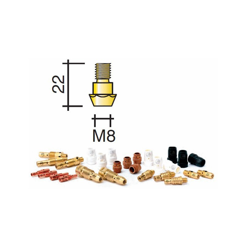 support tube contact Lg.22mm M8