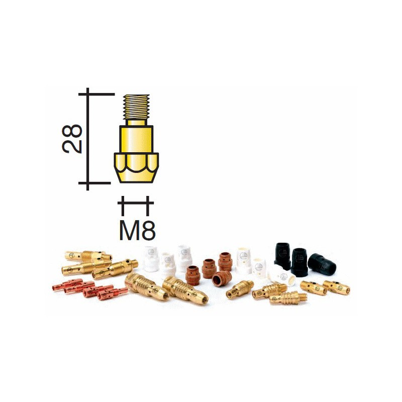 Support tube contact Lg.28mm M8