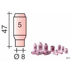 Buse Gr.5 d.8mm Lg.47mm pour torche TIG 17,18 et 26