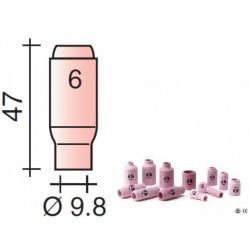 Buse Gr.6 d.9,8mm Lg.47mm pour torche TIG 17,18 et 26